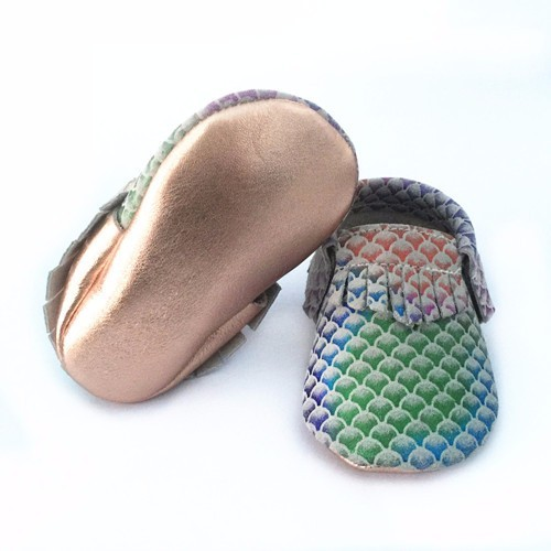 New Most fashion colorful fishscale soft sole genuine leather baby moccasin shoes baby boys girls shoes first walkers