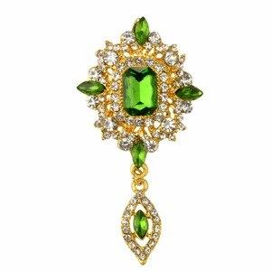 Женская брошь в форме капли воды MZC, брошь из зеленого кристалла в стиле хиджаба, Ювелирное Украшение для костюма Cristal, X1631