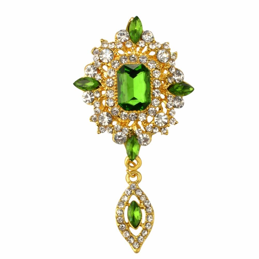 MZC Cheap Green Crystal Water Drop Brooch ძვირადღირებული ფუფუნება ქალების ჰიჯაბის ქინძისთავები იაფი კრისტალის კოსტუმი სამკაულები X1631