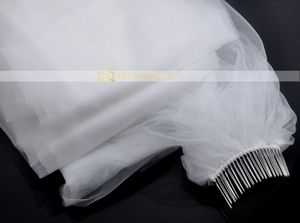 Image 2 - Free Shipping Real Photo 5M White/Ivory Wedding Veil Multi layer long Bridal Veil Head Veil Wedding Accessories Hot Sell MD03034