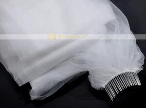 Image 2 - Ücretsiz kargo gerçek fotoğraf 5M beyaz/fildişi düğün duvağı çok katmanlı uzun gelin peçe kafa peçe düğün aksesuarları sıcak satış MD03034