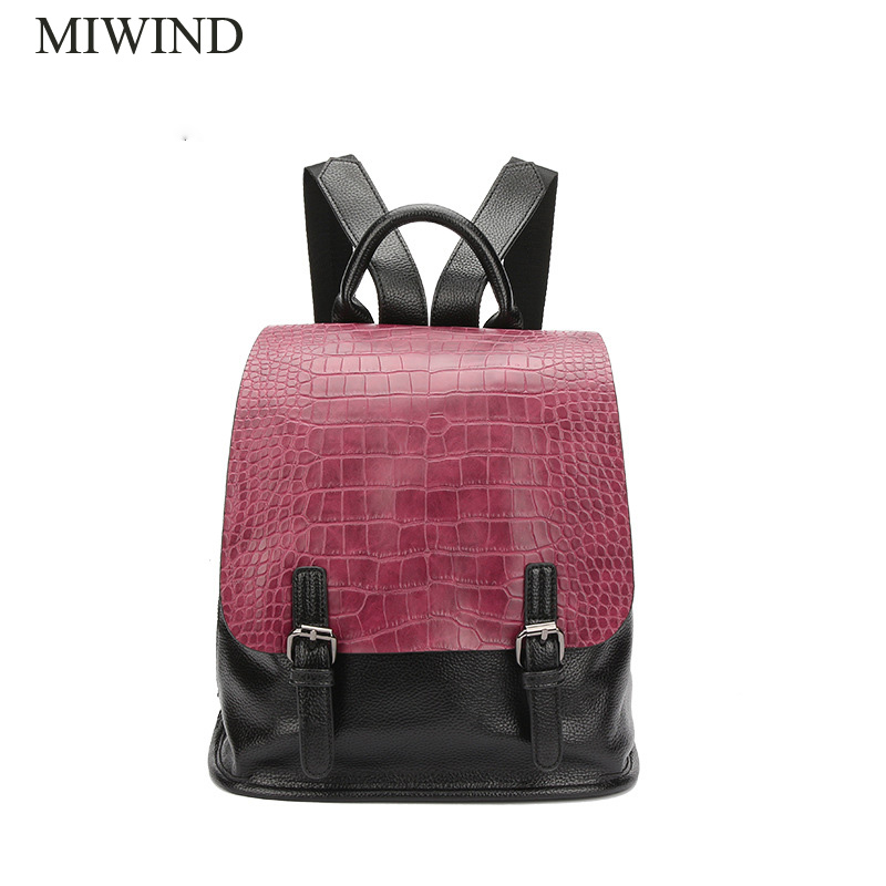 MIWIND Women Backpack PU Backpacks Softback Bags Brand Name Bag Casual Fashion Backpacks Girls Backpack