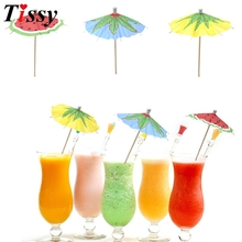 20PCS Watermelon/Coconut Leaves DIY Paper Umbrella Cake Topper Picks/Cocktail Parasols Drinks Picks Birthday/Wedding Party Decor