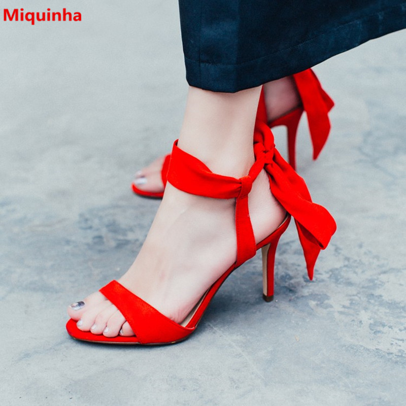 Miquinha 2017 New Red Ankle Strap Butterfly-knot Suede Lace Up Women Sandals Women Sweet Casual Open Toe Wedding Sexy Sandals
