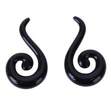 1 pair Ear Spiral Plug Tunnel Stretcher Body Piercing Jewelry Black