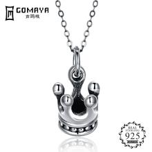 GOMAYA Vintage Crown Pendant Necklace Women Gift 925 Sterling Silver Retro   Color Fine Jewelry Party Accessories 925 sterling silver retro jesus sandalwood cross crucifix necklace pendant men thai silver fine jewelry gift ch038761