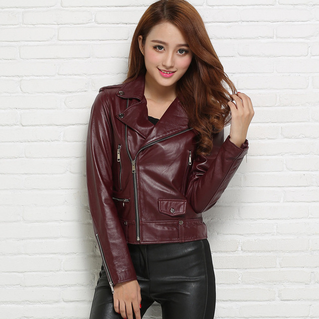 Factory 2016 New Women's 100% Real Genuine Leather Jacket Sheepskin Fashion Design Slim motorcycle Winter Coats Jaqueta