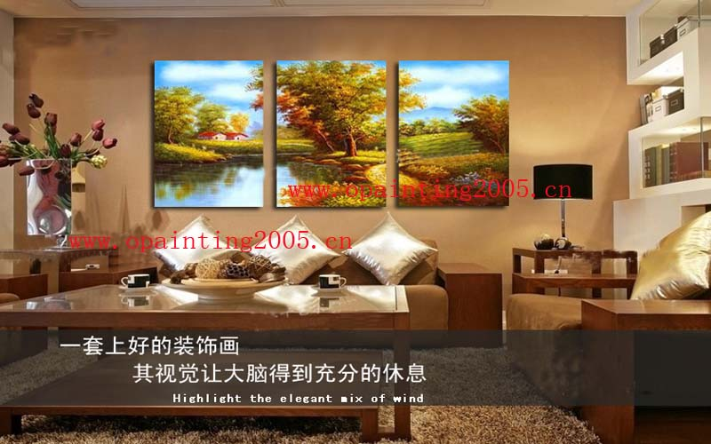 Wholesale Hand Painting Mural Home Decorative Paintings Fashion Beautiful Office Decoration 3 Of Group Classical Landsacpe