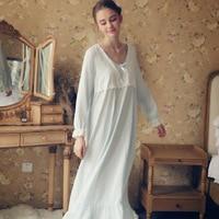 Autumn Winter Cotton Nightgown Vintage Sleepwear Women Night Wear Sleep Shirt Home Dress Lace Princess Nightdress For Wedding