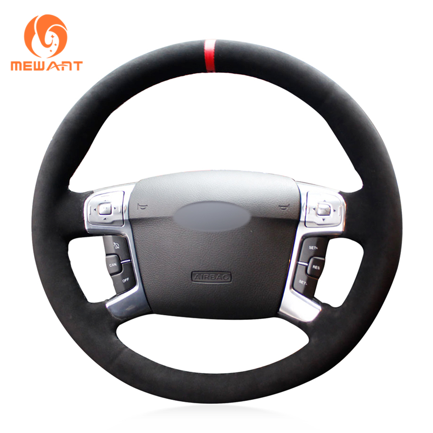 MEWANT Black Suede Red Marker Car Steering Wheel Cover for Ford Mondeo Mk4 2007-2012 S-Max 2008