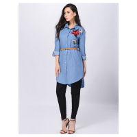 Vrouwen Nieuwe Mode Borduurwerk Denim Shirt Vrouwelijke Bloemen Jeans Blouse Lange Mouwen Office Dames Casual Blusa Tops (Blauw, S/US-4/UK