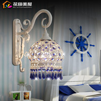 Europäischen minimalistischen schlafzimmer spiegel licht blau kristall nacht lampe wand lampe warme Mediterranen Garten lichter