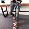 HE Hello Enjoy Kids Boys Girls Jeans pants autumn fashion designer jeans boy girl denim pants casual ripped jeans for girls boys