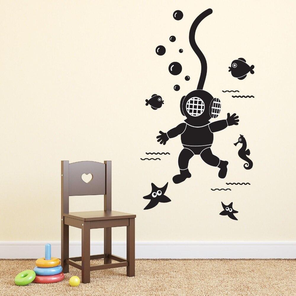 Deep sea scuba diver wall sticker removable diy wall - Childrens bedroom wall stickers removable ...