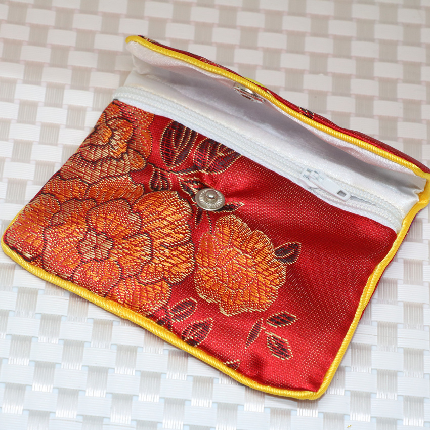 5 colors Vintage style 10pcs flower cloth fabric package 75*97mm bag jewelry rose red blue purple yellow charms gifts box B2843