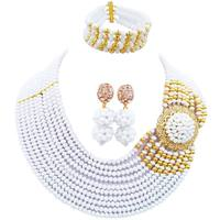 Beautiful Opaque White Nigerian Women Wedding Beads Crystal Necklace Earrings Sets 10C DPH 27