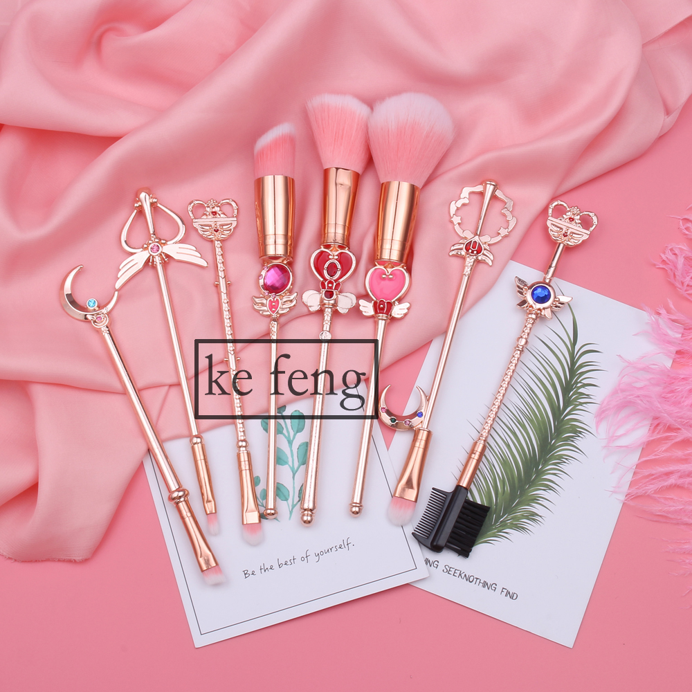 2018 Arrival Sailor Moon Cosmetic Brush Makeup Brushes Set Tools kit Eye Liner Shader Natural-Synthetic Pink Hair Free Shipping 2016 new arrival black dual purpose eyelash assist device extension beauty supplies brow brush lash comb makeup brushes tools