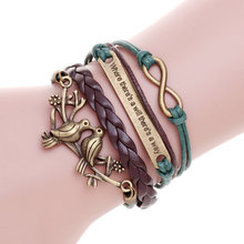 Onde há uma vontade há um caminho aves multicamadas pulseiras de couro charm bracelet pulseira masculina pulseras hombre femme