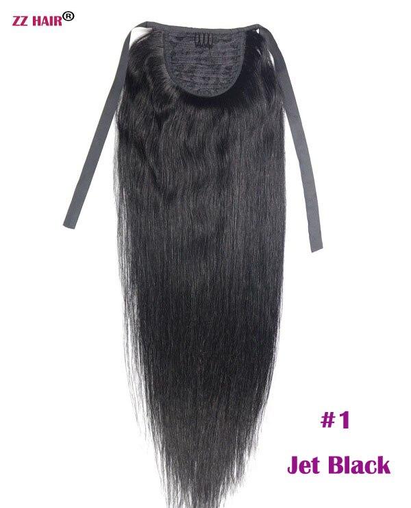 """ZZHAIR 80 г 1""""-24"""" машинное производство remy волосы лента Конский хвост на заколках человеческие волосы для наращивания конский хвост Натуральные Прямые Волосы - Цвет: #1"""