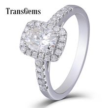 Transgems Halo Cushion Cut Moissanite Solid Gold Engagement Ring Center 1ct 5X7mm GH Color 14K 585 White Gold Wedding Ring цена в Москве и Питере