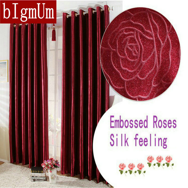 Us 11 51 54 Off Embossed Roses Short Long Curtains For Living Room Bedroom Blackout Window Drapery Burgundy Golden Solid In From