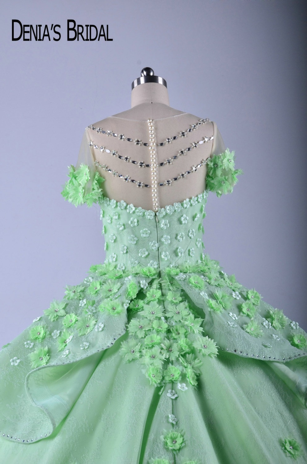 Puffy Colorful Wedding Dresses Sheer Crew Neck Handmade Flowers ...
