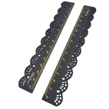 Wood Straight Ruler Stationery Lace Black Sewing Ruler Wooden Stationery School Office Accessories Gift Joy Corner