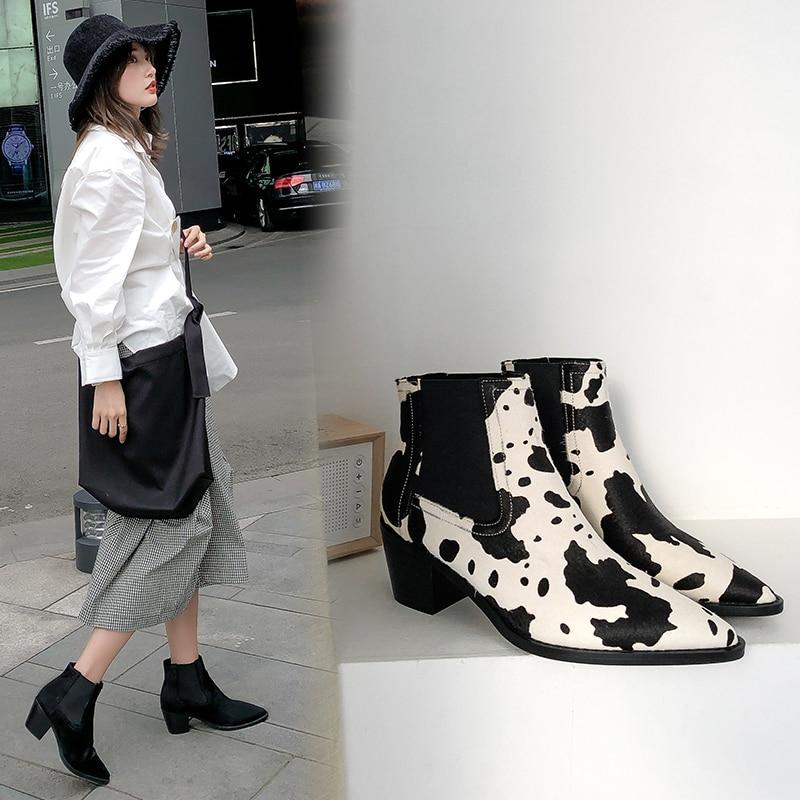 Bottines femmes cheveux de cheval bottes 22-24.5 cm longueur bout pointu talon haut Chelsea bottes cuir cheveux de cheval Europe états-unis
