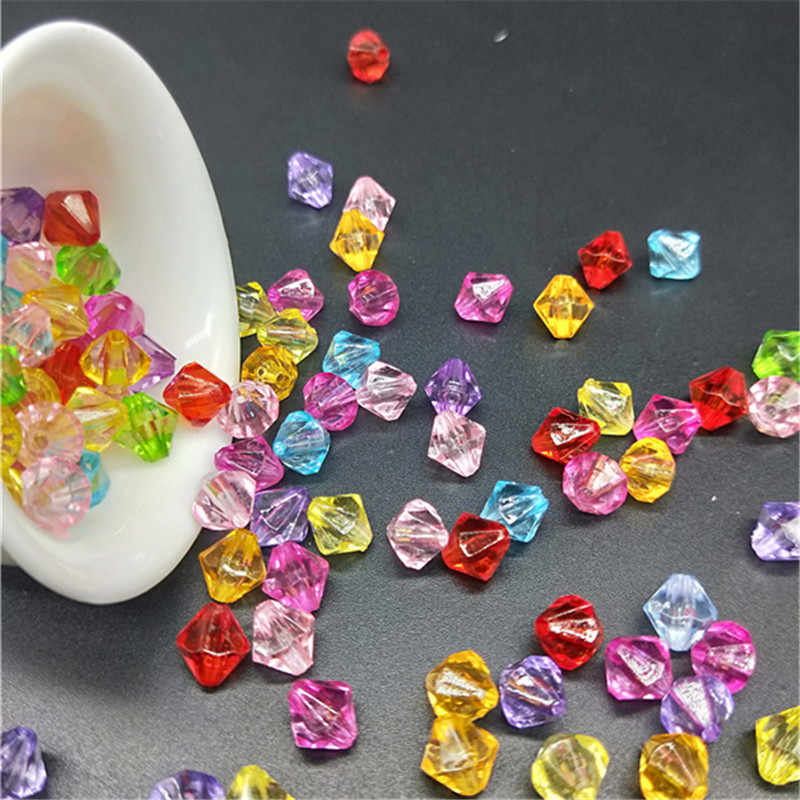 DIY 6/8mm 100pcs/Lot Cheap New Hot Transparent Mix Rondelle Loose Spacer Round Acrylic Beads Bicone Faceted Bead Jewelry Making