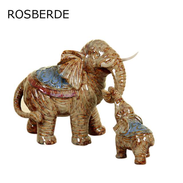 2pc Ceramic Elephant Mother And Son Home Decor Furnishing Handicrafts Ornaments Decoration