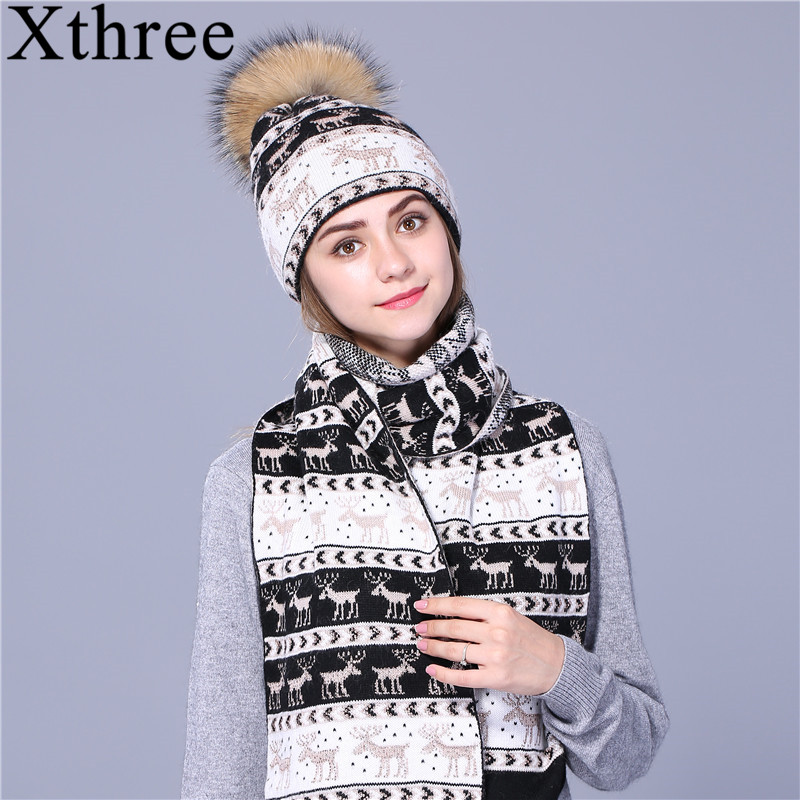 Xthree Christmas deer winter hat scarf set Thick Double-deck beanie Warm wool Knitted hat scarf for women real mink fur pom pom sopamey winter wool knitted hat beanies real mink fur pom poms skullies hat for women girls warm hat feminino 2017