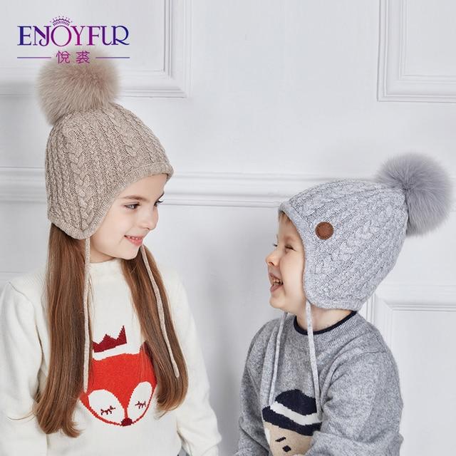 ENJOYFUR niños Caps grueso invierno cálido Caps para bebé Fox Fur Pom buena  calidad caliente edad 3761d88361e