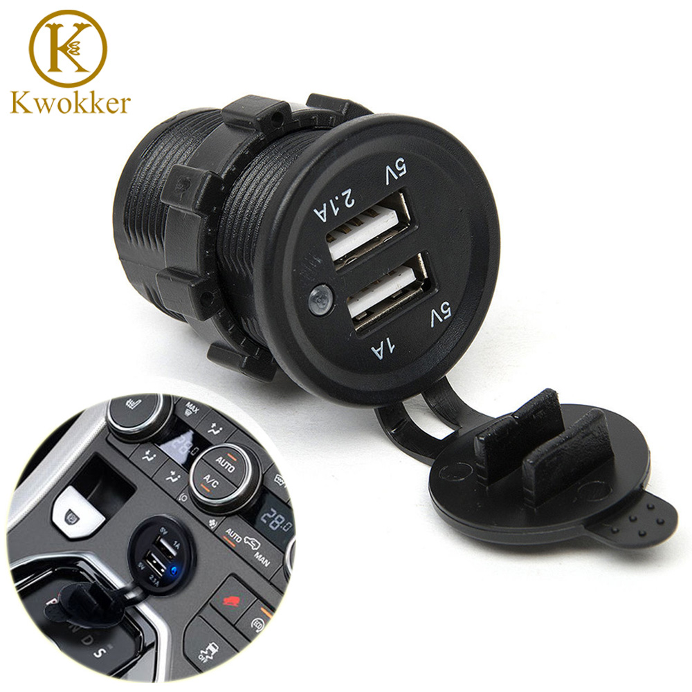 KWOKKER 12V 3.1A DC Dual USB Port Car Cigarette Lighter Socket Charger Outlet Splitter a24 2016 new arrive 12v dual usb car cigarette lighter socket splitter 12v charger power adapter outlet accessories