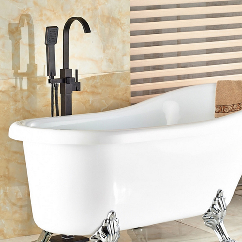 NEW Oil Rubbed Bronze Bathroom Tub Faucet Floor Mounted Tub Filler W/ Hand Shower Swivel Spout