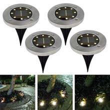 4 шт. водонепроницаемый IP65 8 светодиодный солнечный подземный светильник s из нержавеющей стали солнечный погребенный напольный светильник Открытый садовый путь наземный светильник s