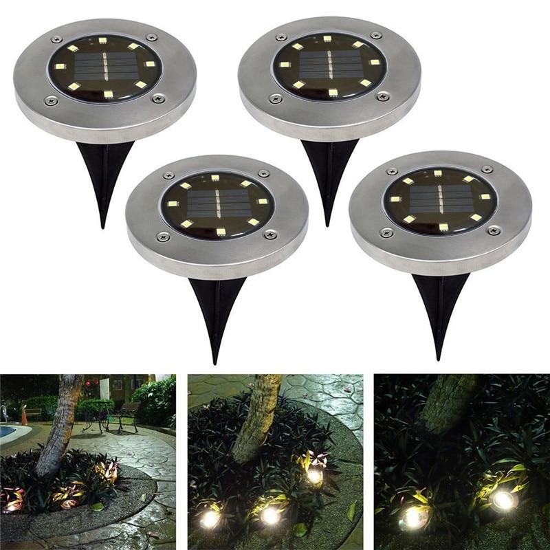 4Pcs Waterproof IP65 8 LED Solar Underground Lights Stainless Steel Solar Buried Floor Light Outdoor Garden Path Ground Lights