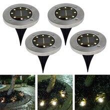 4Pcs Waterproof IP65 8 LED שמש מחתרת אורות נירוסטה שמש קבור רצפת אור חיצוני גן נתיב קרקע אורות