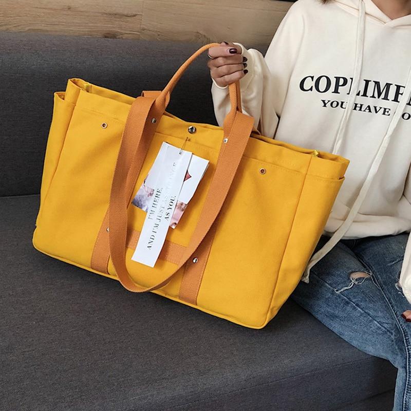 Bolso de mano de lona bolso de compras de mujer bolso de mano de ocio de estilo Simple disponible para bolsas personalizadas-in Bolsas para compras from Maletas y bolsas    1