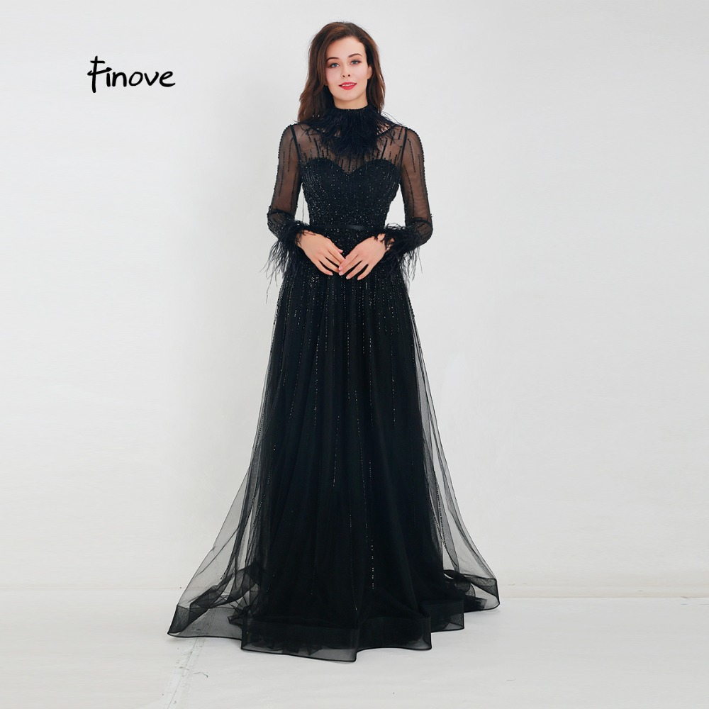 Finove Evening Dress 2019 New Arrivals Gorgeous Black A Line Gowns Full Sleeves Feathers Neck Line