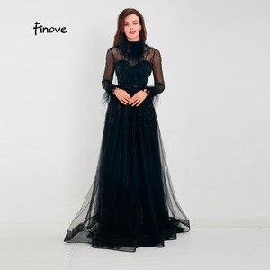 Image 1 - Finove ชุดราตรี 2020 สินค้าใหม่ Gorgeous สีดำ A Line ชุดแขนยาวขนคอสายยาวชุดอย่างเป็นทางการ