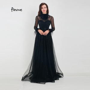 Image 1 - Finove Evening Dress 2020 New Arrivals Gorgeous Black A Line Gowns Full Sleeves Feathers Neck Line Floor Length Formal Dress