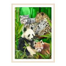 5D DIY Diamond Painting Panda Pattern Cross Stitch Crystal Round Mosaic