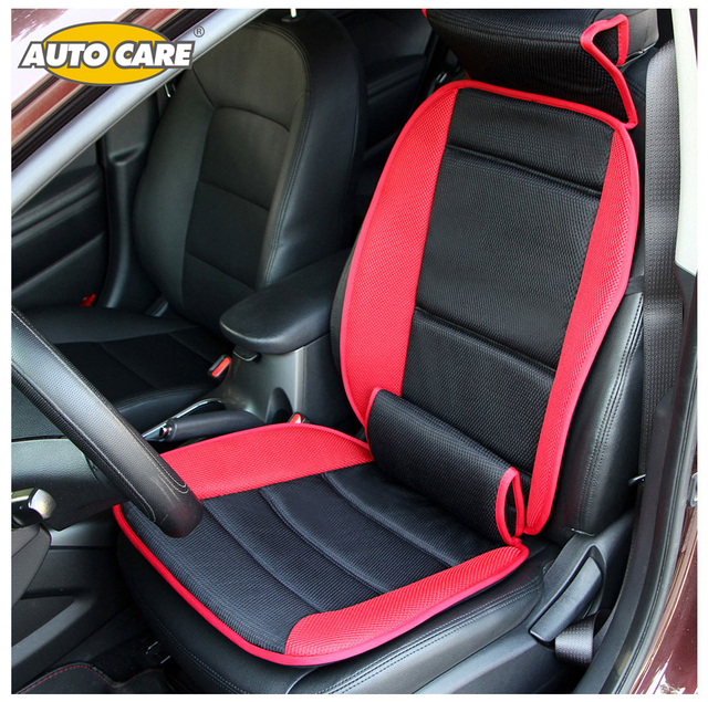 Plush Car Seat Covers With Lumbar And Neck Support Red Gray Color Comfortable Breathable