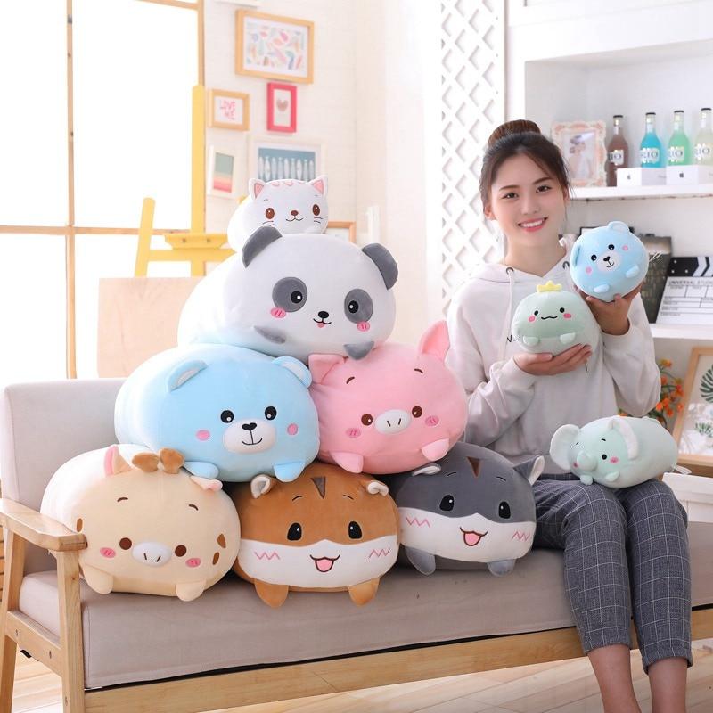 Todo tipo de animales de peluche de dinosaurio, cerdo, Gato y oso, Panda suave de dibujos animados, hámster, elefante y ciervo, regalo de almohada para bebé Lote de 8 unidades de figuras de acción de Panda, Panda, Mini modelo de PVC para niños, juguetes de animales para niños, regalos de cumpleaños