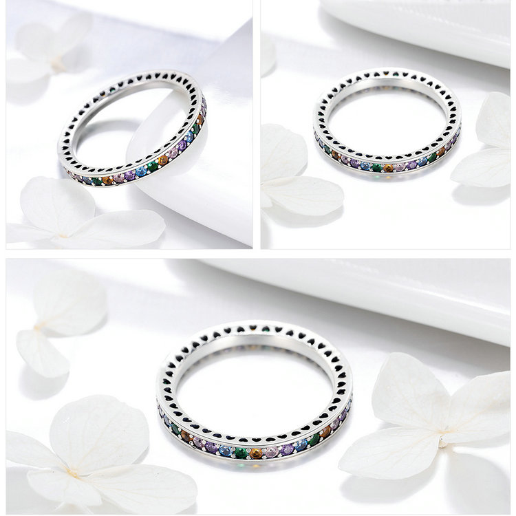 Genuine 100% 925 Sterling Silver Colorful CZ Crystal Round Pave Finger Rings