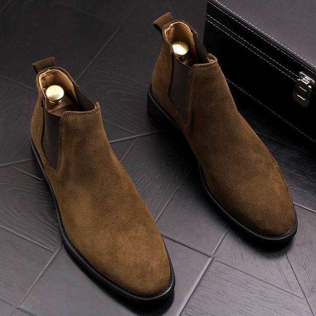 ERRFC Fashion Winter Men Chelsea Boots Brown Slip On Nubuck Trending Man Martin Boots Black Luxury High Top Casual Shoes 38-44