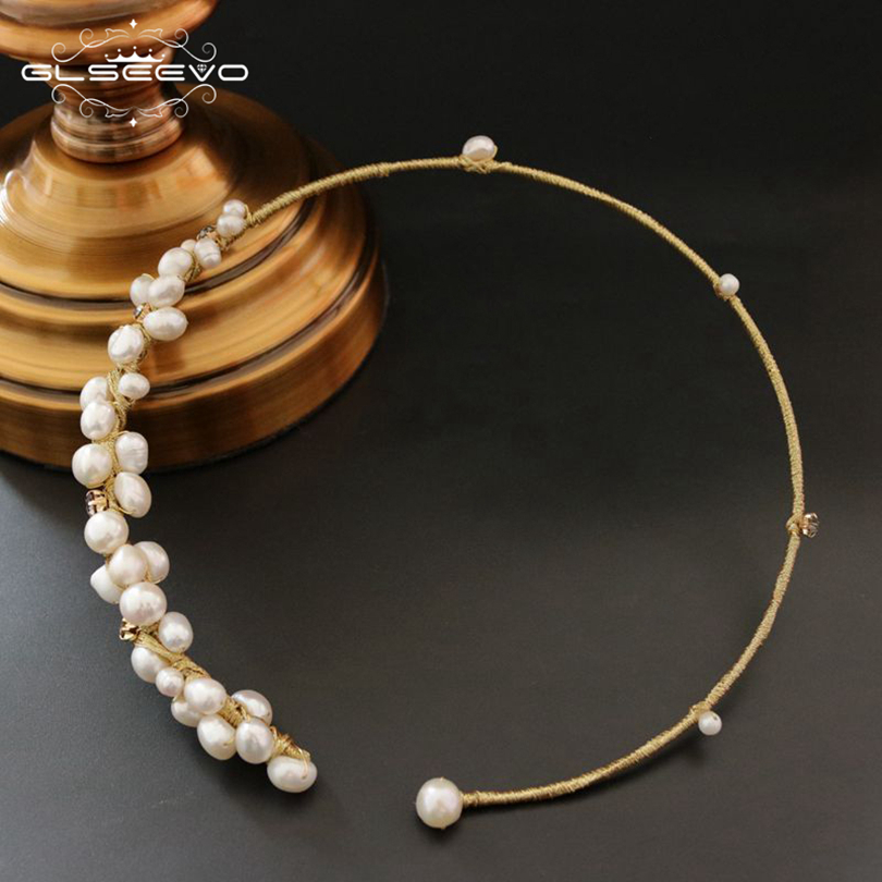 GLSEEVO Natural Fresh Water Baroque Pearl Choker Necklace Gifts For Women Shell Flower Necklaces Luxury Fine Jewelry GN0061 jiuduo jewelry genuine luxury support natural pearl necklace for women beautiful shell necklaces simulated crystal jewelry