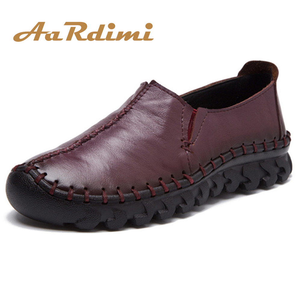 AARDIMI Autumn Handmade Women Genuine Leather Flats Shoes Casual Women's Flat Shoes Slip On Round Toe Female Loafers Espadrilles