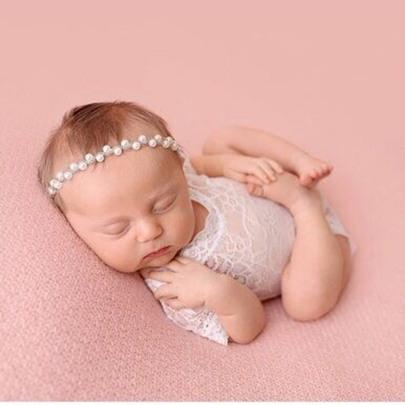 Newborn Photography Props Accessories Baby Photography Clothing Baby Girl Lace Jumpsuit+Headband Set Studio Baby Photo Props