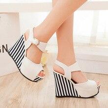 ใหม่ฤดูร้อนรองเท้าผู้หญิงสีขาวแบนแพลตฟอร์มรองเท้าแตะลิ่มส้นรองเท้าs trappyรองเท้าส้นสูงหญิงs andalias p lataforma 2016